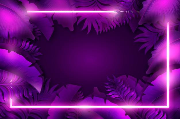 ネオンフレームと紫色の背景
