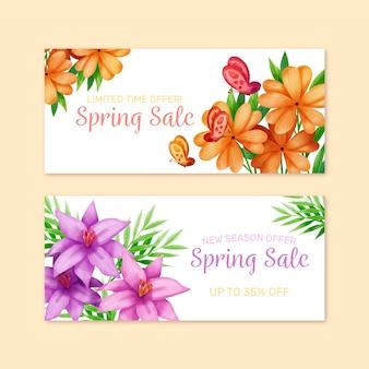 Оранжевые и фиолетовые цветы весенняя распродажа акварель баннер