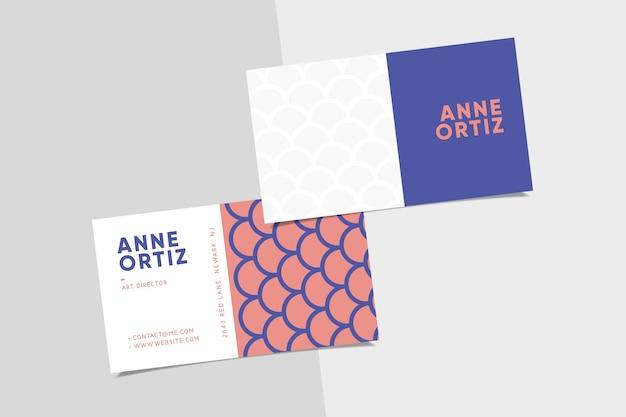 シンプルなピンクと紫の訪問名刺