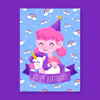 ユニコーンとピンクの髪の誕生日の招待状を持つ少女