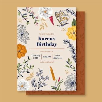 花の装飾品で誕生日の招待状