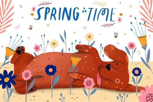 Счастливый щенок в помещении наступает весна