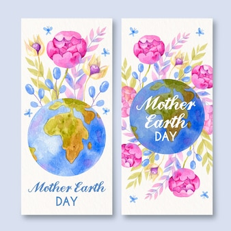 Акварельные баннеры на день матери-земли