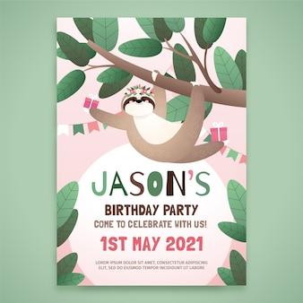 Детская открытка на день рождения со ленивцем