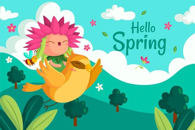 かわいいこんにちは春の背景