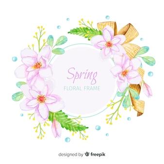 Акварель весенняя цветочная рамка