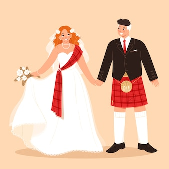伝統的なスコットランドの新郎新婦