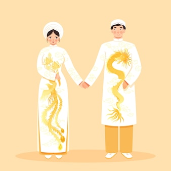 女と男と伝統的なアジアの服