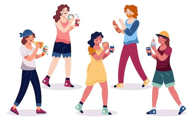 Люди с едой иллюстрации