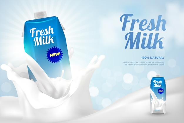 新鮮な牛乳瓶広告