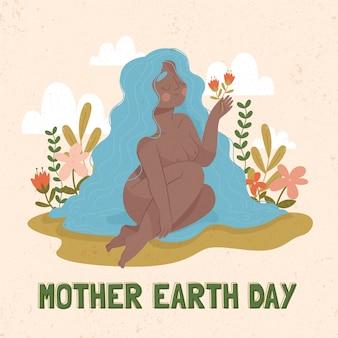 手描き背景母地球の日