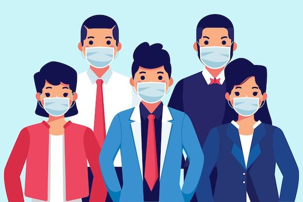 医療用マスクを着ている人