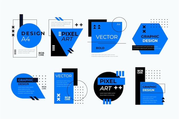 幾何学的なスタイルのグラフィックデザインラベル