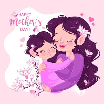 Мать и дитя обнимаются и держат ветку цветов