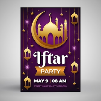 Плоский шаблон приглашения на ифтар