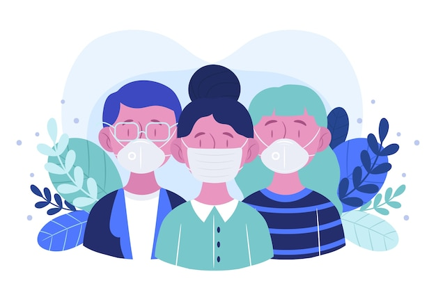Люди, носящие концепцию медицинской маски