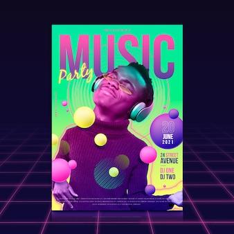 Шаблон плаката фестиваля с фотографией человека, слушающего музыку