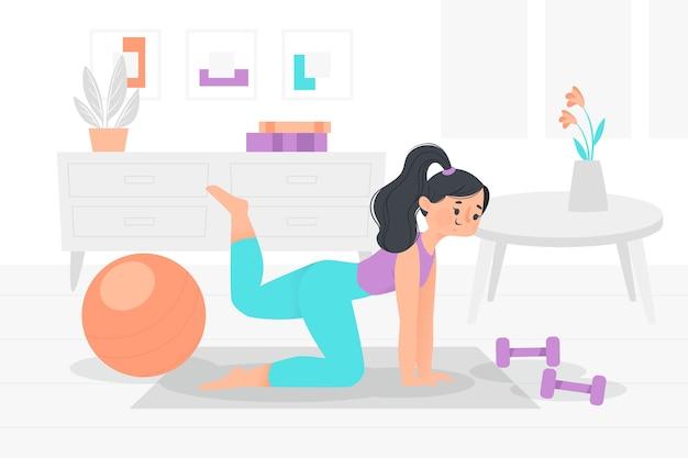 自宅でトレーニングの若い女性のイラスト