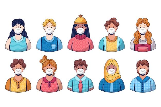 医療用マスクを着ている人のグループ