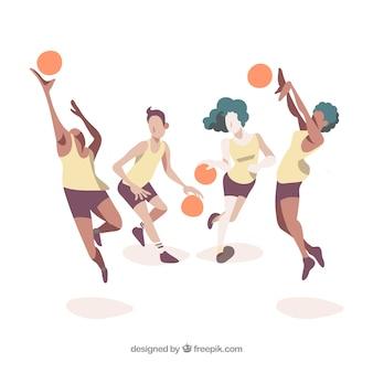 バスケットボールチームイラスト