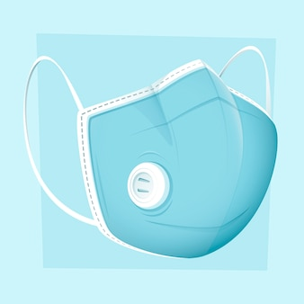 フラットデザインの医療用マスクと換気