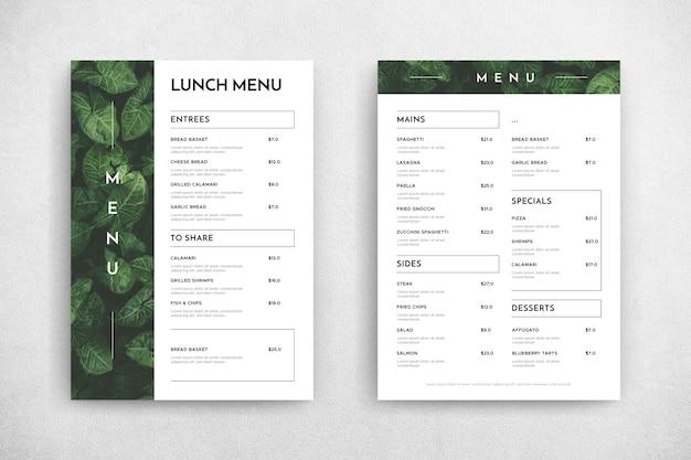 Минималистичный шаблон меню ресторана