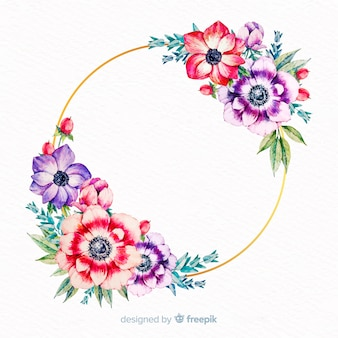 白紙の横断幕と水彩花のフレーム