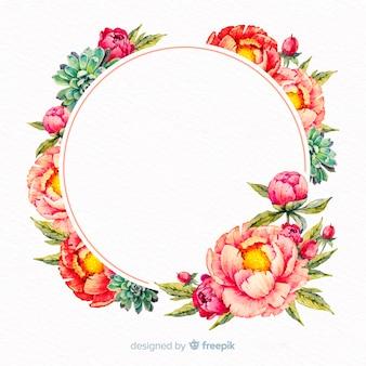 Акварель цветочная рамка с пустой баннер