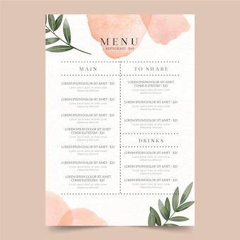 Шаблон меню ресторана акварель здоровой пищи