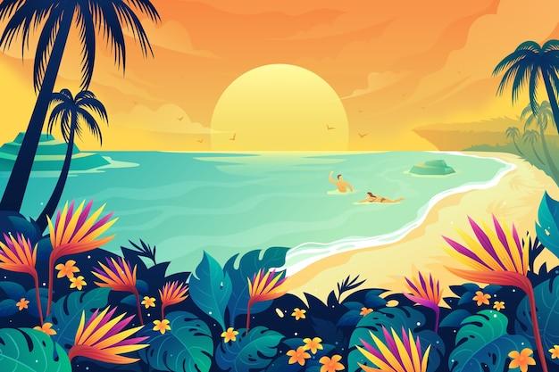 夏の海で泳いでいる幸せなカップル