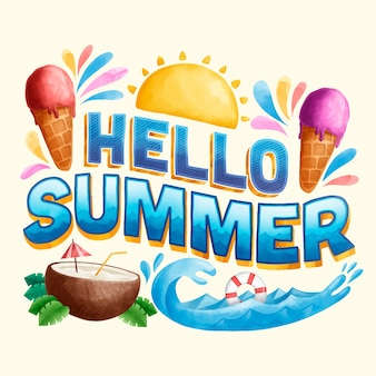 Привет лето надписи и мороженое