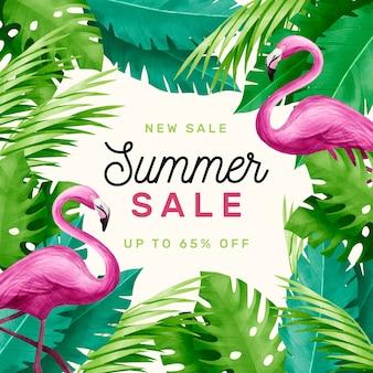 Привет летняя распродажа акварельных фламинго