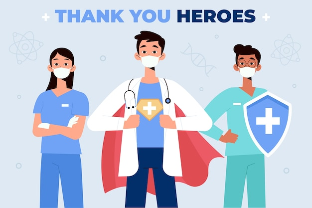 医師や看護師のコンセプトに感謝