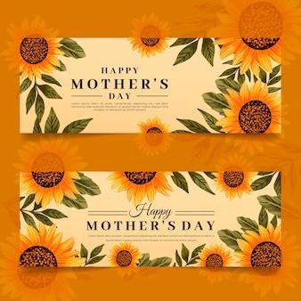 Набор рисованной баннеры день матери