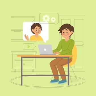コンピューターを介して互いに話している親友