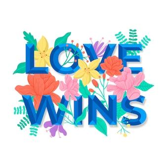 Надпись день гордости с цветами фона