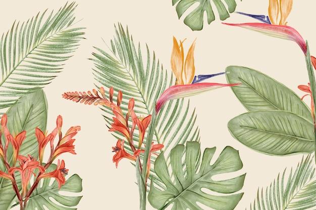 Фон с листьями и цветами