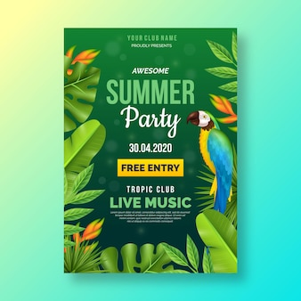 現実的な夏のパーティーポスターテンプレート