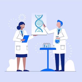 Ученый держит молекулы днк