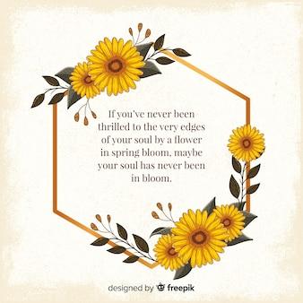 Золотая рамка с цветами