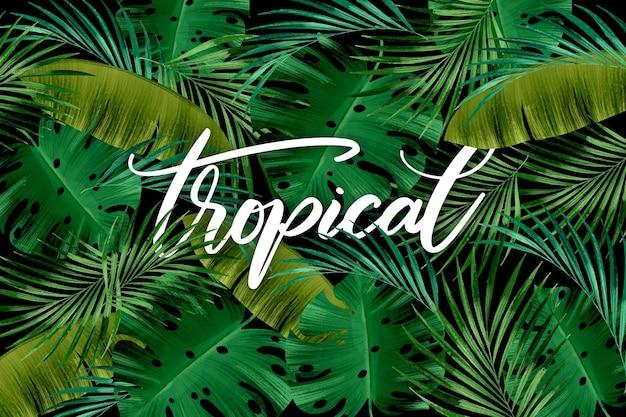 Бесшовные зеленые листья тропической надписи