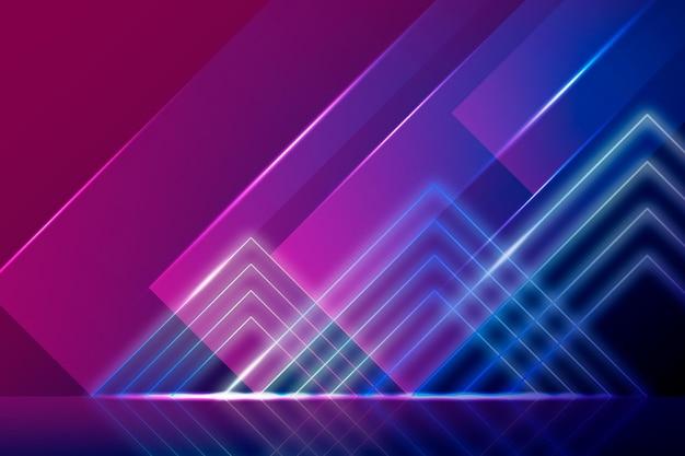 ネオン多角形の明るい背景