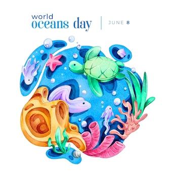 Акварельный день мирового океана