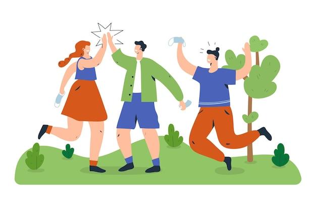 Люди встречаются в парке после самоизоляции