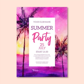 水彩夏のパーティーポスター