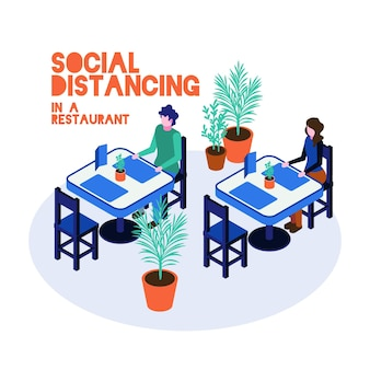 イラスト付きレストランの社会的距離
