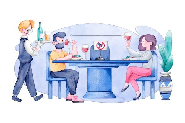 イラスト付きのレストランで社会的距離を練習している人々