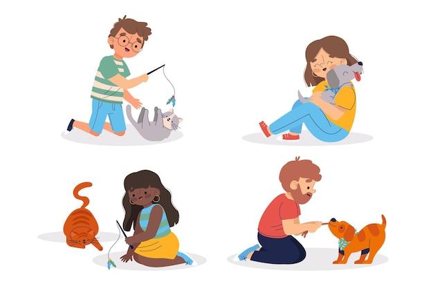 ペットと遊ぶ人