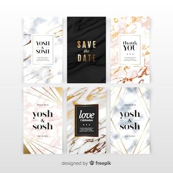 大理石の結婚式の招待状セット