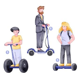電気輸送の概念を運転する人々